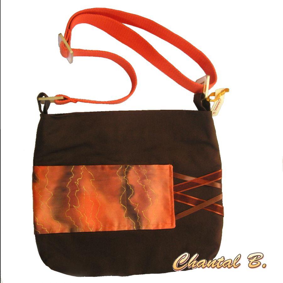 sac à main coton chocolat et soie orange peinte Marion bandoulière réglable