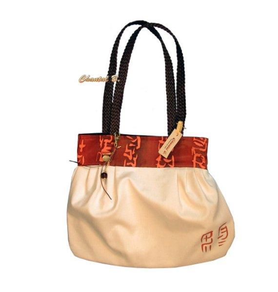 sac à main coton écrue et soie orangée Carola anse tressée
