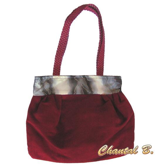 sac à main sac cabas rouge et soie grise anse tressée