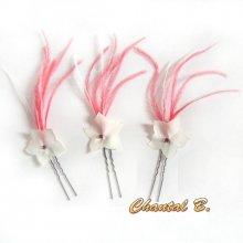 lot de 3 pics fleur à chignon rouge épingles à cheveux mariage fleur de soie sur plumes rouge