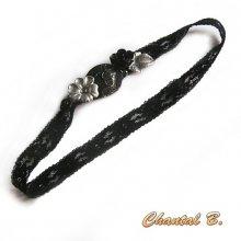 headband bandeau cheveux dentelle noire bouton et fleurs noir et argent