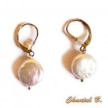 boucles d'oreilles mariage perles naturelles nacrées plates plaqué argent