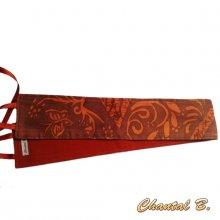 Ceinture large soie sauvage motifs arabesques orange fond brun fauve à nouer