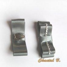 clips chaussures mariage accessoire chic noeud satin gris mariée et argent