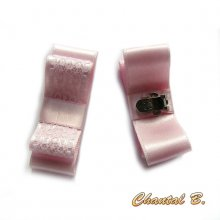 clips chaussures mariage noeud satin rose et dentelle blanche
