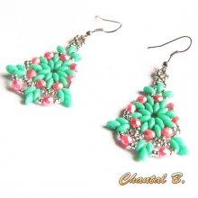 boucles d'oreilles turquoise perles cristal boheme corail et argent