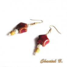boucles d'oreilles étoile rouge de Noel  et doré