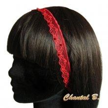 bandeau cheveux headband fine dentelle rouge perlée accessoire mariage