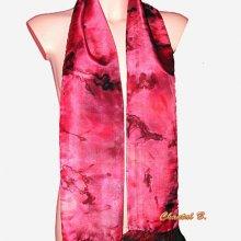 foulard soie rouge et noir à volants mousseline Lara