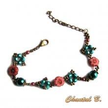 bracelet fantaisie perles fleurs bohème rose et perles nacrées turquoise métal bronze