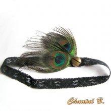 headband bandeau cheveux dentelle noire bouton doré plume de paon