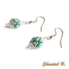boucles d'oreilles mariage perles swarovski cristal perles de verre émeraude nacré et argent