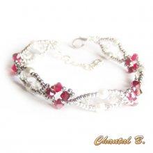 bracelet cristal swarovski perles nacrées et argent tissées