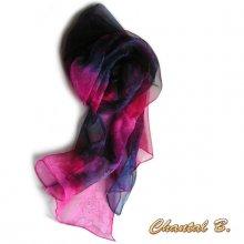 SUR COMMANDE - long foulard écharpe mousseline de soie dégradé rose violet peint main 180CM