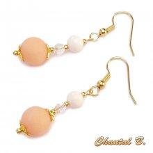 boucles d'oreilles mariage perles de jade saumon cristal nacre véritable et or