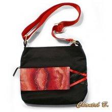 sac à main coton noir et soie rouge peinte Sibille bandoulière réglable