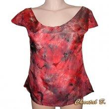 Top chemisier rouge caraco soie rouge et noir peint à la main ALEXIANE