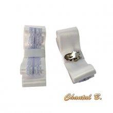 clips chaussures mariage soirée cérémonie noeud satin blanc et dentelle lilas accessoire personnalisable