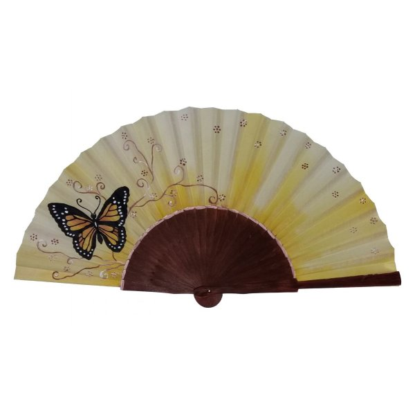 """Eventail en satin dessiné et peint à la main """" Butterfly"""""""