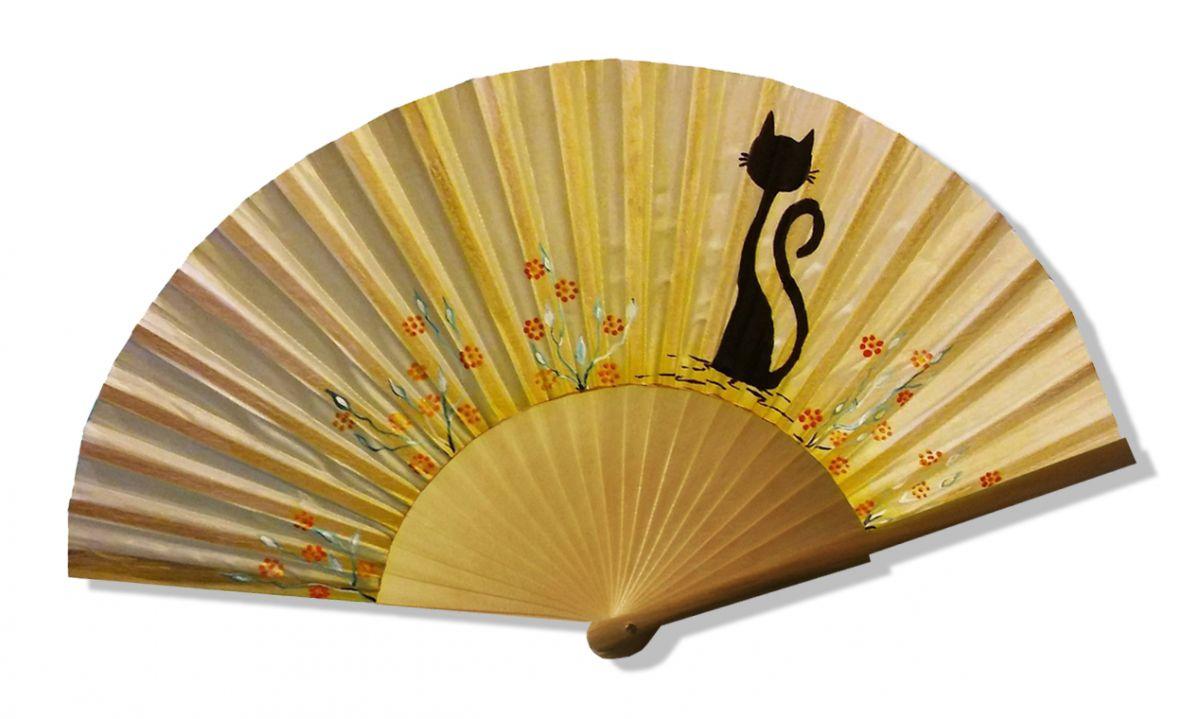 """Eventail en soie dessiné et peint à la main """"Chat sun"""""""