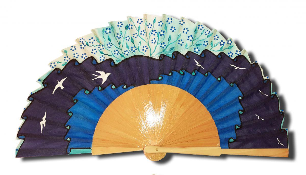 Collection 2020 Eventail en soie peint à la main et bois sycomore
