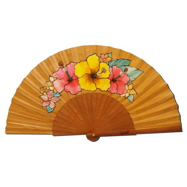 """Eventail en soie dessiné et peint à la main """"Hibiscus du soleil"""""""