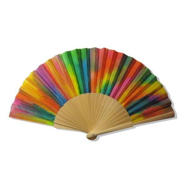 Collection Holi Color, éventail en soie peint à la main