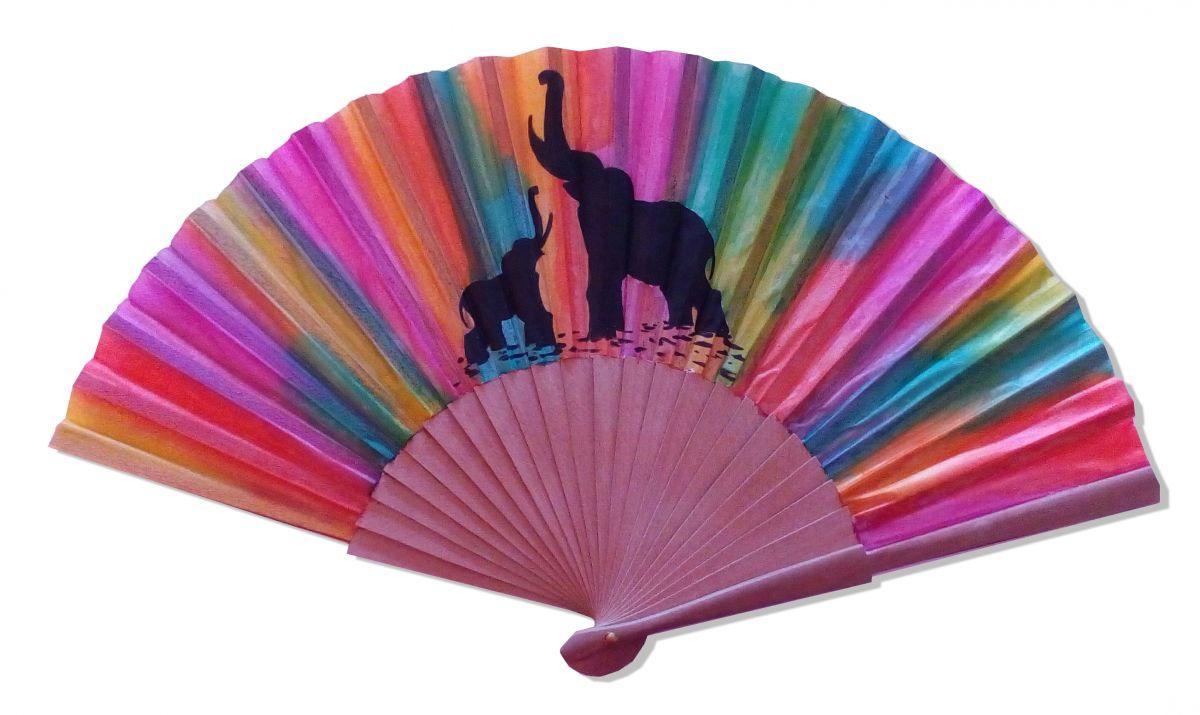 """Collection Holi Color, éventail en soie dessiné et peint à la main """"Holi fan"""""""