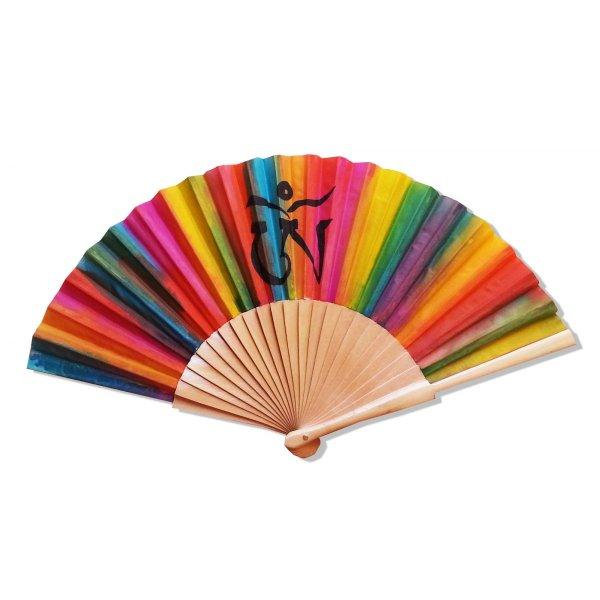 """Collection Holi Color, éventail en soie dessiné et peint à la main """"OM TIBETAIN"""""""