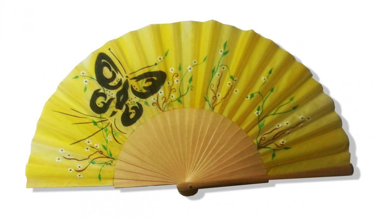 """Eventail en soie dessiné et peint à la main """"Papisong"""""""