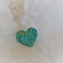 Broche coeur turquoise et or