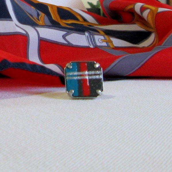 Grosse Bague Réglable pour Femme en Ardoise Emaillée Rouge, Bleu et Argent, Création Artisanale