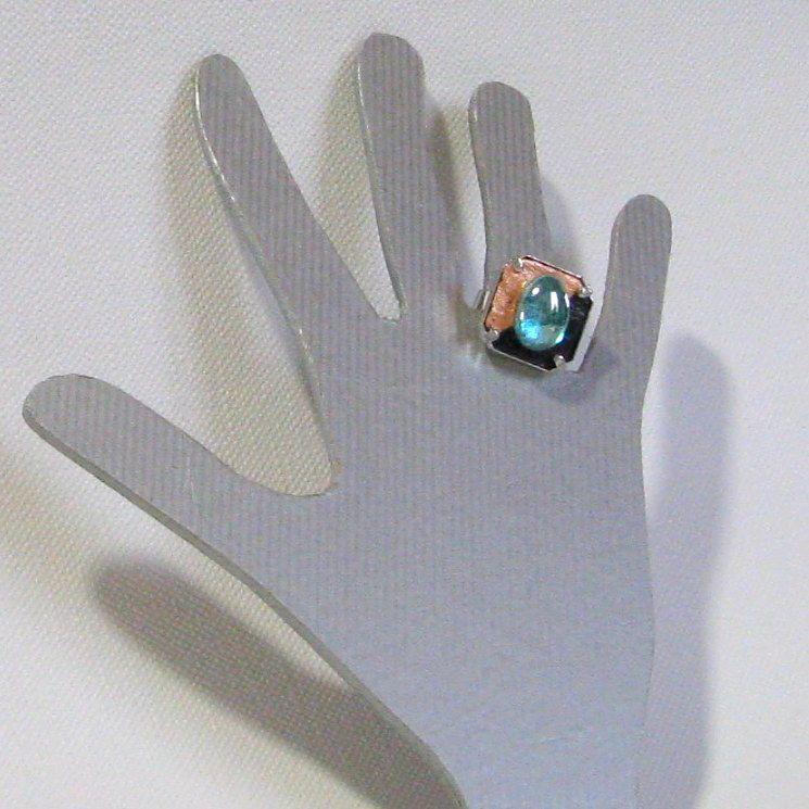Bague Réglable pour Femme en Ardoise de couleur Cuivre et Turquoise, Création Artisanale