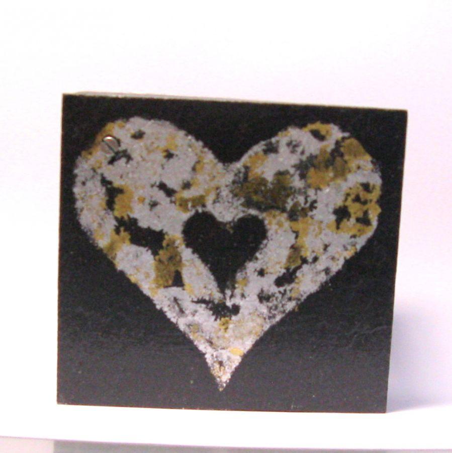 boite en bois et ardoise motif coeur, pour la fête des mères