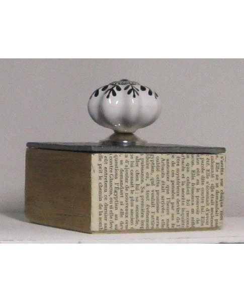 boite vintage bois et ardoise bouton céramique