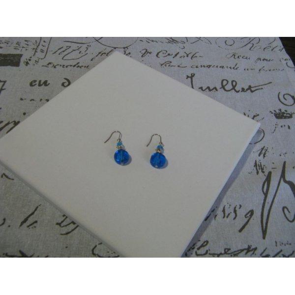 Boucle d'Oreille Femme Bleu et Argent, Montage Acier Inoxydable, Création Unique