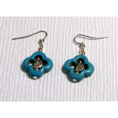 boucles d'oreile howlite fleur turquoise et argent