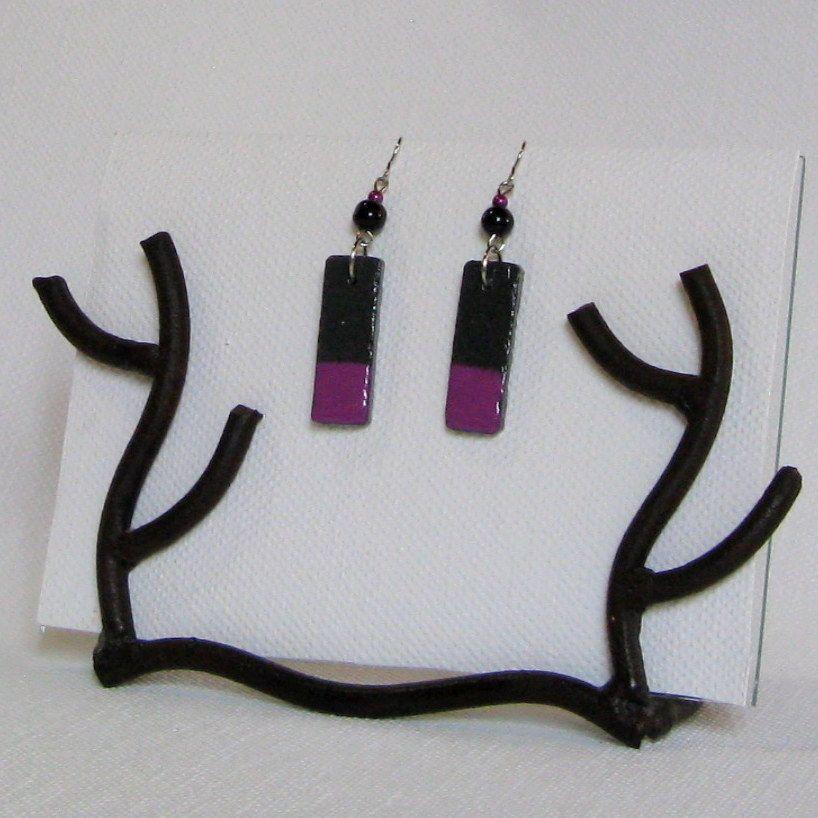 Boucles d'oreille en ardoise émaillée violet, création artisanale