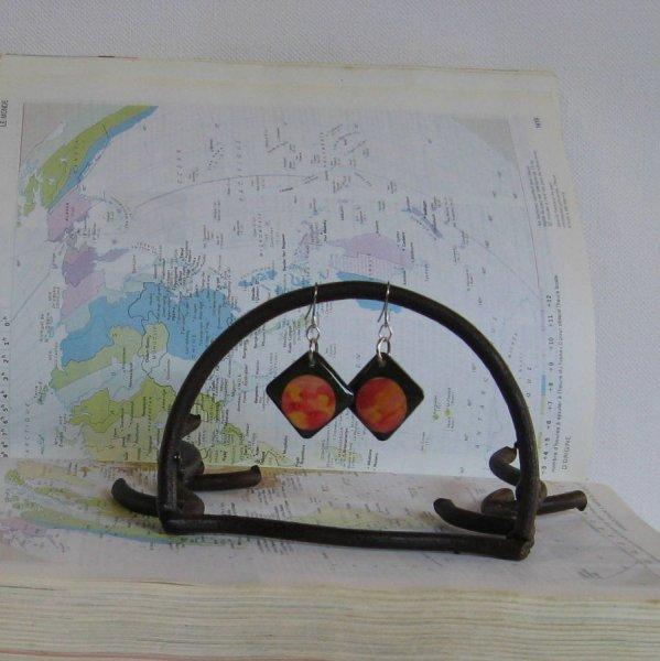 Boucles d'Oreille en Ardoise Rose et Jaune sur Pendant en Acier Inoxydable, Création Unique