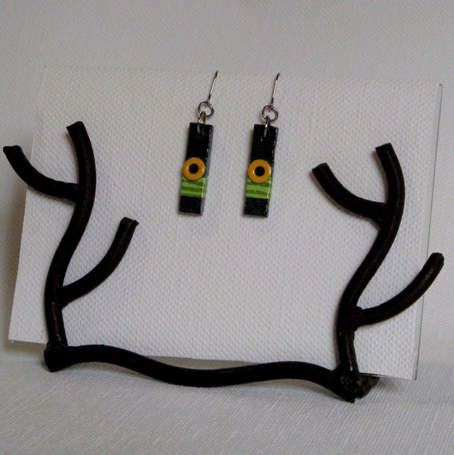 boucles d'oreille pour Femme en Ardoise coloris Vert et Jaune, Création Artisanale