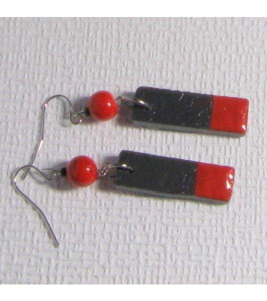 boucles d'oreille créateur ardoise émaillée rouge