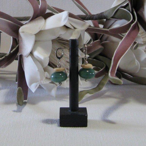 Boucles d'Oreille Dormeuse pour Femme en jade et en bois, Création Unique