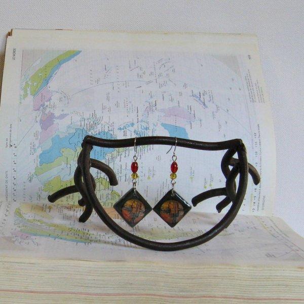 Boucles d'oreille Femme en Ardoise et Résine, Contemporaine, Création Unique
