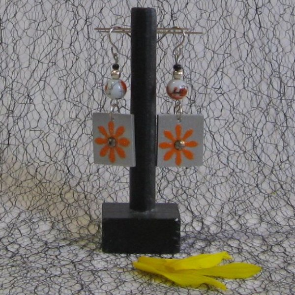 boucles d'oreille fleur orange, création unique