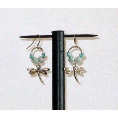 boucles d'oreille libellule et rocaille bleu vert