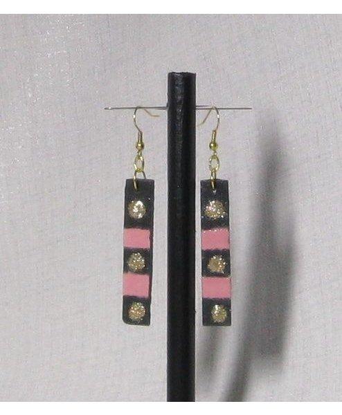 boucles d'oreille longues en ardoise et émail rose et doré fait main
