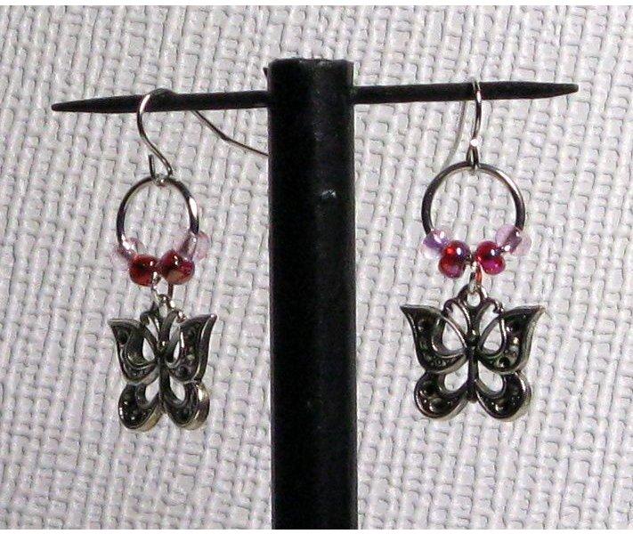 boucles d'oreille papillon perles rose oreilles percées pendants enfants