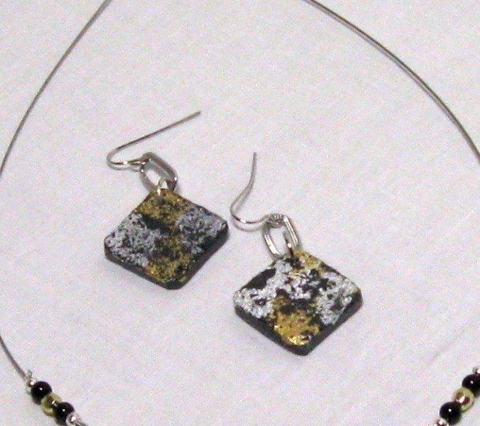 boucles d'oreille pendant ardoise or et argent