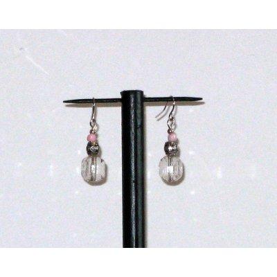 boucles d'oreille pendant style romantique rose translucide
