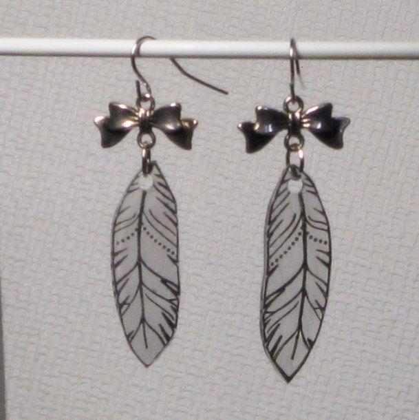 boucles  d'oreille plume pour femme et ado bijou de créateur